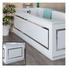 Bathroom 1700mm White Horizontal Stripe Front Bath Panel & 700mm End Bath Panel