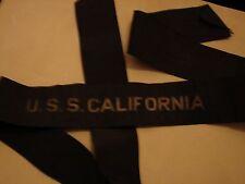 Original WW1-30s USNavy USS CALIFORNIA Gold-Wire Cap Tally - RARE - Pearl Harbor
