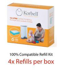 Korbell Nappy Bin Refill 4,8 or 12 refills for 16L bin - 100% Compatible