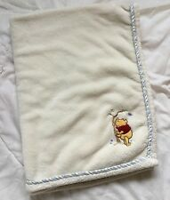 Winnie Pooh Tree Blanket Butterfly Bird White Blue Stripe Edge Trim