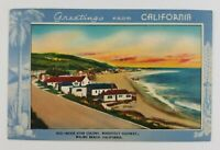 Postcard Linen Greeting From Malibu Beach Movie Star Colony California 1940