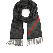 Gucci Nikky Angora Wool Black Grey Web Red Green GG Scarf 37cm x 190cm Fringe