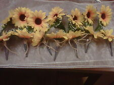 wedding sunflower buttonhole 14 corsages with grey organza ribbon