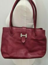 "Borse in Pelle red leather handbag with silver ""H"" detail"