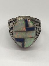 Native American Navajo Sterling Silver Ring Size 9 with Opal & Lapis Inlay
