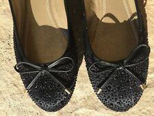 Adrienne Vittadini BLACK Cathi Beaded Ballet Flats Shoes Women's Size 6.5 M