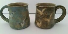 New Listing2-Pottery Coffee Mugs Cup Brown & Blue Spreckled Abstract Birds