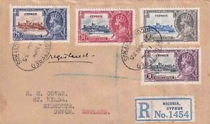 CYPRUS GEORGE V 1935 REGISTERED COVER SILVER JUBILEE SET FROM NICOSIA TO DEVON