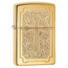 Zippo 29436, Deep Carved Cross, High Polish Brass Armor Lighter, Full Size