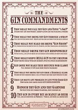 Ginsanity The Gin Commandements Affiche A4