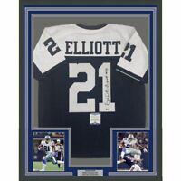FRAMED Autographed/Signed EZEKIEL ELLIOTT 33x42 Dallas TG Day Jersey Beckett COA