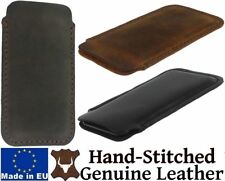 HAND SEWN NICE DURABLE GENUINE LEATHER CASE COVER SLEEVE POUCH FOR MOBILE PHONES