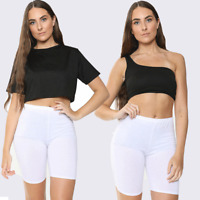 Women Ladies Crew Neck Off Shoulder Short Sleeve Tshirt Crop Top UK 8-14