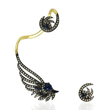 Sterling Silver 0.91ct Pave Diamond Blue Sapphire ANTIQUE Ear Cuffs 18k Gold