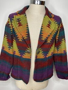 Coldwater Creek Women's M Colorful Southwest Blazer Jacket Concho Button Western