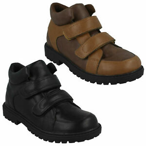 BOYS JCDEES BLACK BROWN HOOK AND LOOP TWIN STRAP WINTER ANKLE BOOTS SHOES N2R058