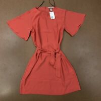 H&M Women's Size Small Coral Short Wide Sleeve Keyhole Tie Belt Dress NWT