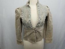 Papillon Women's Small Tan Lace Front Corduroy Blazer Jacket Long Sleeve