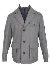 New HUGO BOSS Orange Light Grey Wool Opolice Military Pea Coat Jacket 38 48
