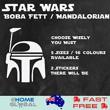 Star Wars Boba Fett Mandalorian Logo Sticker Decal Car Wall Bike Helmet