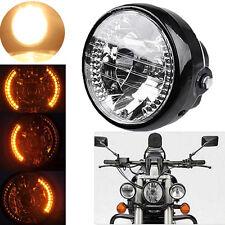 "UNIVERSAL FIT 7"" H4 Motorcycle Sportbike Headlight LED Turn Signal Amber Light"