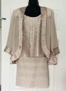 Dana Kay 3-pc. Champagne / Beige Skirt, Top, Jacket Set, Dressy, Formal - Sz 10