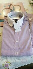REISS purple pinstripe slim-fit tab collar shirt Medium