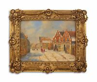 9973268-ds Oil Painting on Wood in the Wood/Resin-Gold Piece Frame Street Scene