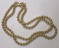 Vintage Jewelry Coro Signed 2 Strand Necklace Goldtone Metal Beads 1950s