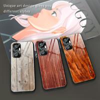 For Xiaomi Redmi Note 10 / 10 Pro Max Wood Grain Tempered Glass Back Case Cover