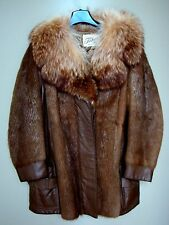 NATURAL ARGENTINIAN NUTRIA/LEATHER/RACCOON TAN 3/4 FUR COAT JACKET SIZE 12/14