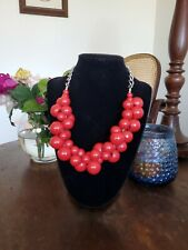 Chunky red Bubble Shape Beads Statement Necklace Costume Jewellery Retro Fun