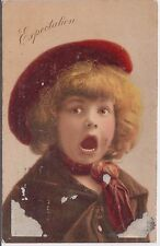 Girl with Red Beret Expectation Vintage Postcard