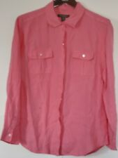 Tommy Bahama Women Sz M Pink Linen Button Down Shirt Top Roll Tab Sleeves