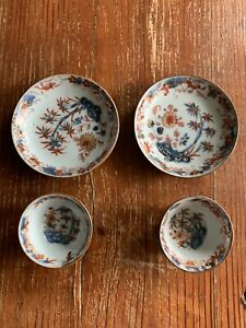 Rare Pair Of Chinese Export Porcelain Batavia Imari Teabowls & Saucers