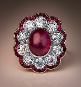 5Ct Cabochon Ruby Syn Diamond Halo Art Deco Statement Ring Rose Gold Fnsh Silver