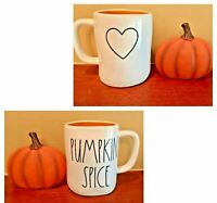 "Rae Dunn by Magenta PUMPKIN SPICE ""❤"" Double Sided Mug Brand New Fall 2019 RARE"