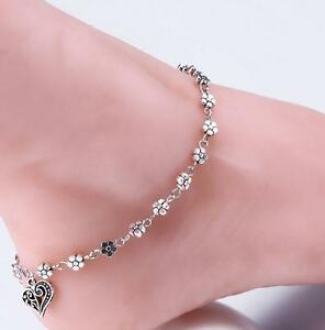Tibetan Silver Daisy Heart Anklet Ankle Bracelet Beach Foot Jewellery UK Seller