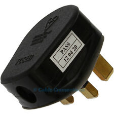 UK 3A BLACK MAINS PLUG 3 AMP 3 PIN APPLIANCE FUSE POWER WHITE SOCKET ADAPTOR