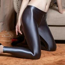 Женские атласные глянцевые непрозрачный шелковистый леггинсы фитнес йога брюки на молнии с открытой промежностью