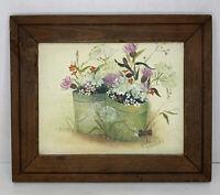 """Vtg Oil Painting Floral Original Art 9.5x7.5"""" Signed Solid Wood Framed 12.5x10"""""""