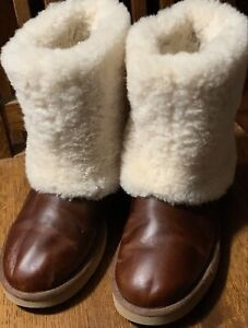 UGG 11 Limited Edition Maylin Women Brown Boots Sheepskin Leather Free Shipping!