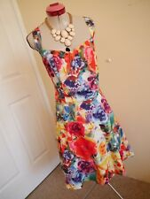 RETRO 50s White Red Blue TEA DRESS Size 22 Floral Crossroads Pin-Up Party