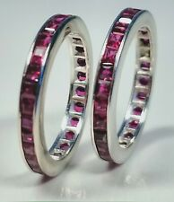 Pair of Fine 14k White Gold With Channel Set Square Rubies Ring Size 4.5