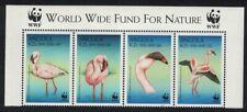 Angola Birds WWF Lesser Flamingo Strip of 4v WWF Logo MNH SG#1402-1405