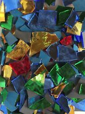 1 Lb Mosaic Stained Glass Mirror-Tile Spectrum Handcut Mix Color Free Cut ~Usa~