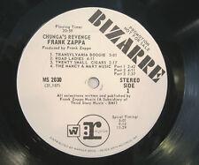 "FRANK ZAPPA  ""CHUNGA'S REVENGE""  lp USA promo white label mint"
