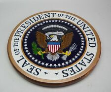 US President Presidential Seal Kiln Dry Wood Podium Plaque White
