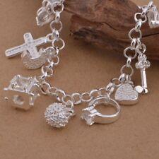925 Silver Charm Bracelet Zircon Diamond Sterling Silver Plated Valentines