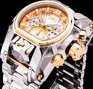 Invicta Men BOLT ZEUS MAGNUM Chronograph Rose Gold Silver GMT High Polish Watch